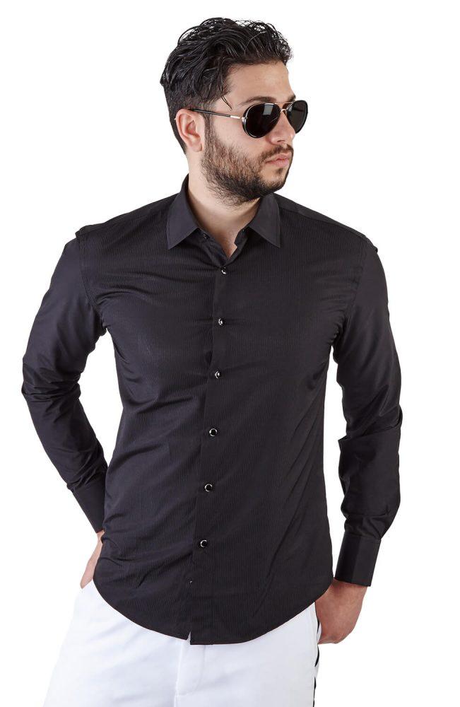 Slim Fit Black French Cuff Tuxedo Shirt Azar Suits