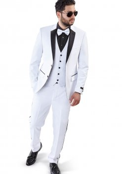 Slim Fit 2 Button 3 Piece Vested White Tuxedo