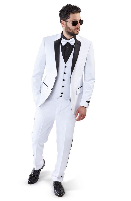 Slim Fit 2 Button 3 Piece Vested White Tuxedo