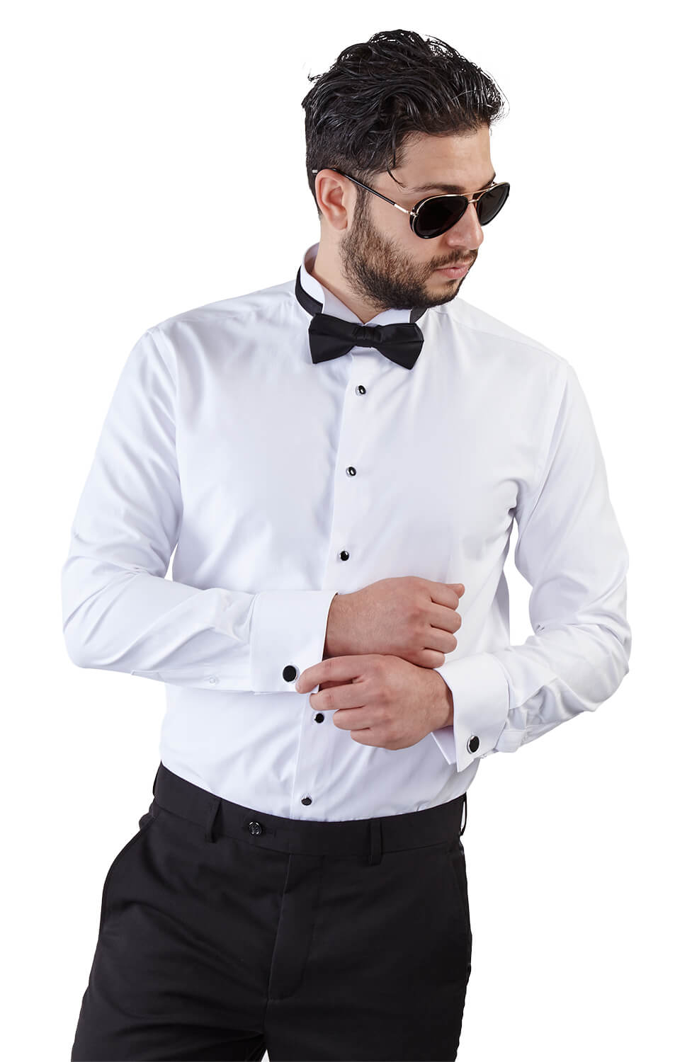 slim fit white wing tip french cuff tuxedo shirt azar suits