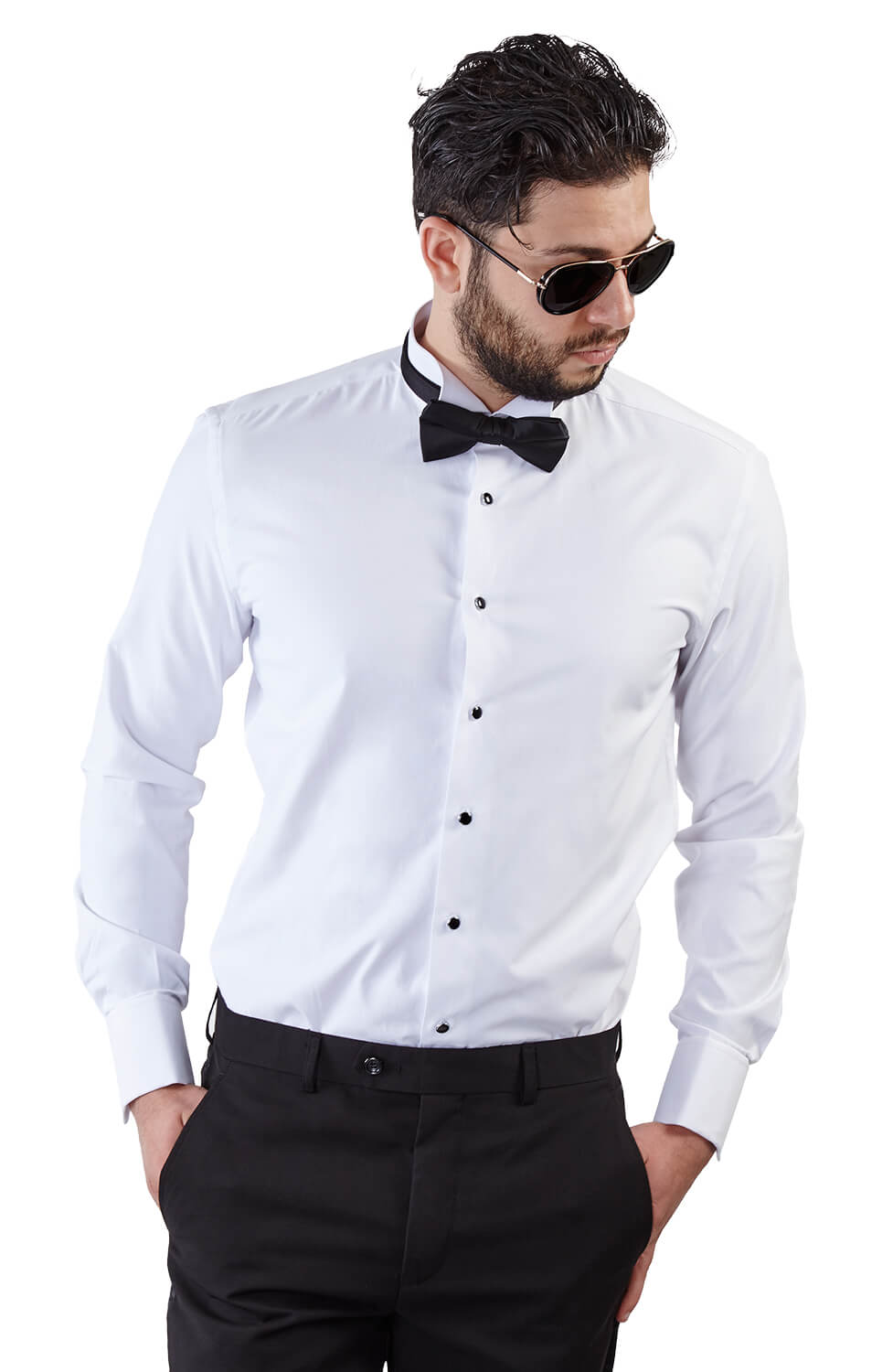 Slim fit white wing tip french cuff tuxedo shirt azar suits White french cuff shirt slim fit