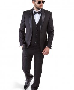 Slim Fit 2 Button 3 Piece Vested Black Tuxedo