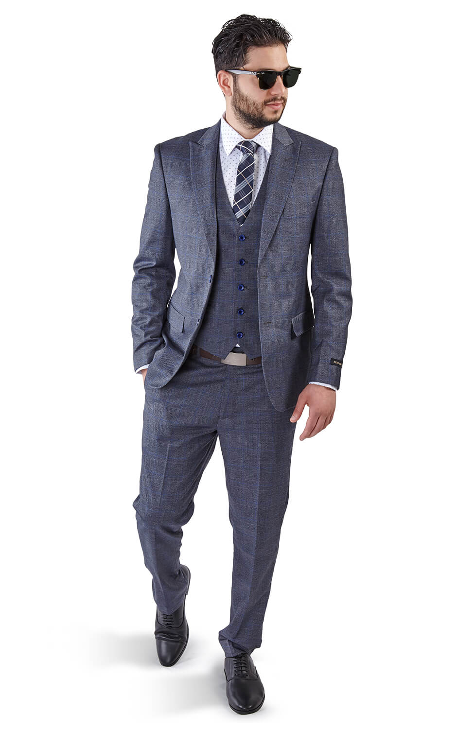 Slim Fit 2 Button 3 Piece Grey Peak Lapel Windowpane