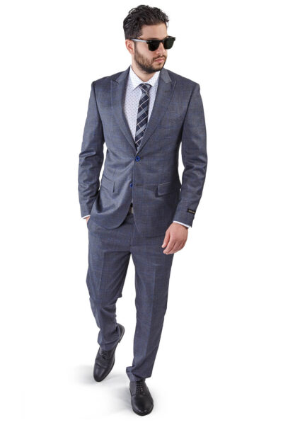 Slim Fit 2 Button Grey Peak Lapel Windowpane