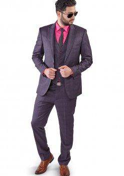 Slim Fit 2 Button 3 Piece Purple Grey Peak Lapel Windowpane