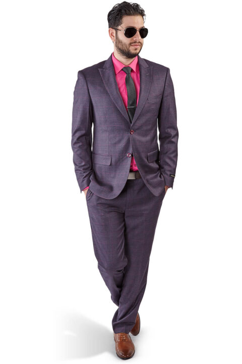 Slim Fit 2 Button Purple Grey Peak Lapel Windowpane