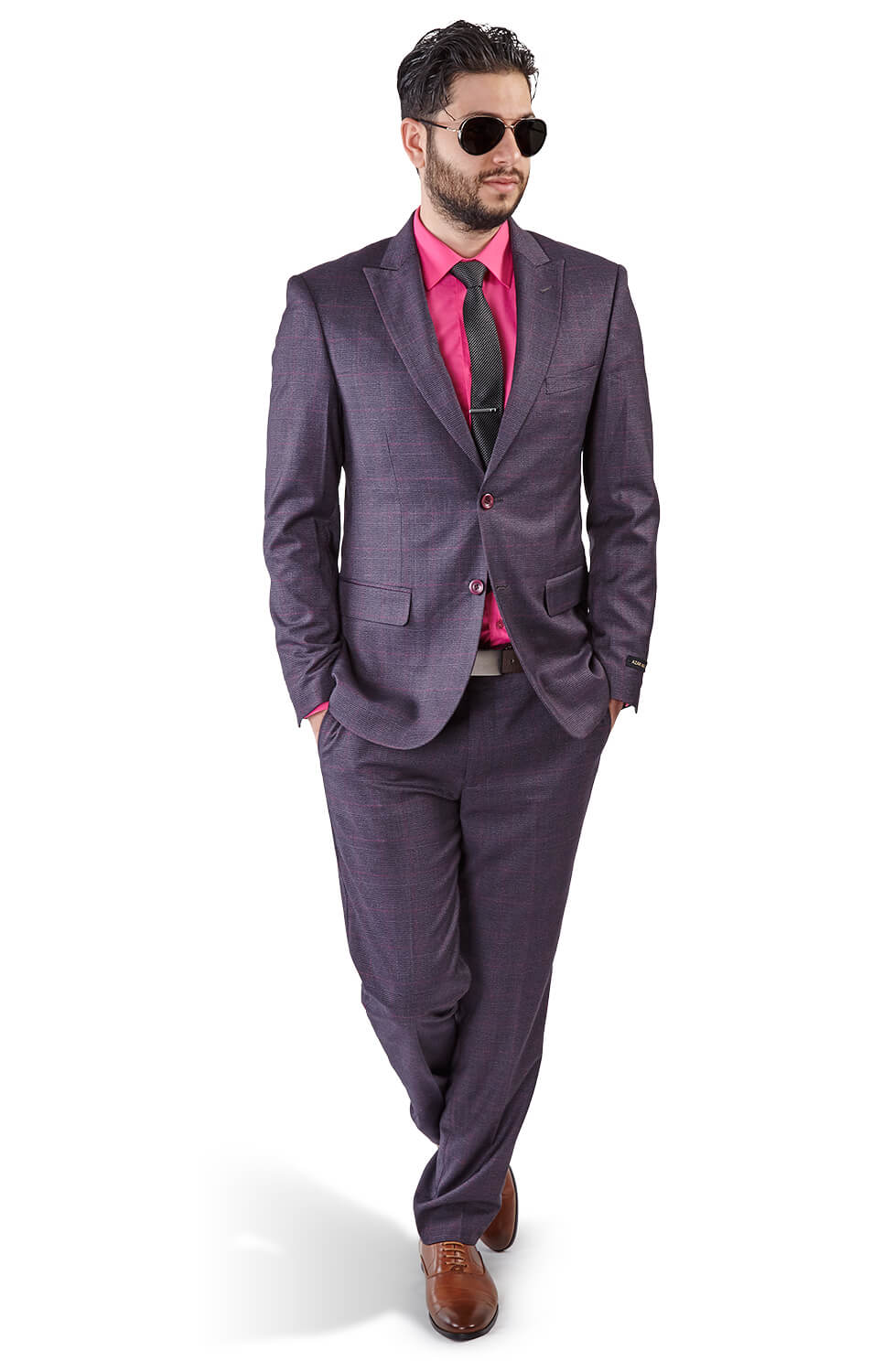 favorable price purchase newest cheapest price Slim Fit 2 Button Purple Grey Peak Lapel Windowpane