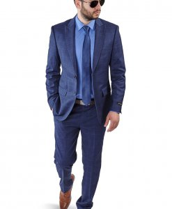Slim Fit 2 Button Blue Peak Lapel Windowpane