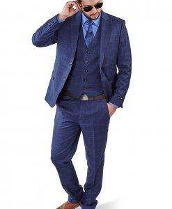 Slim Fit 2 Button 3 Piece Blue Peak Lapel Windowpane