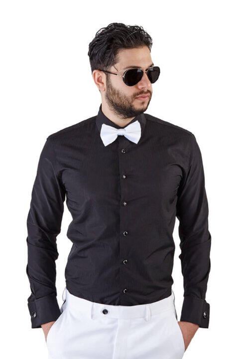 Slim Fit Black French Cuff Tuxedo Shirt