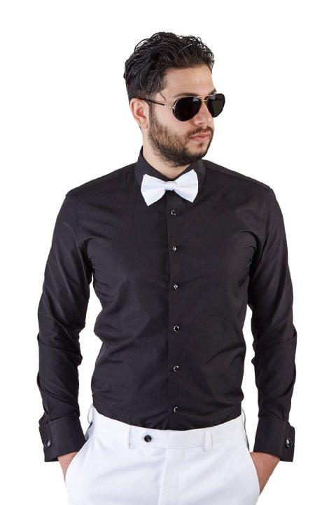 Slim Fit Black French Cuff Tuxedo Shirt