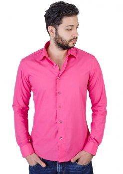 Slim Fit Solid Fuchsia Shirt
