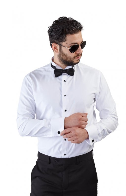 Slim Fit White Wing Tip French Cuff Tuxedo Shirt