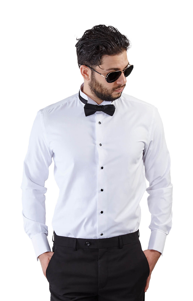 choose genuine hot sales top-rated discount Slim Fit White Wing Tip French Cuff Tuxedo Shirt