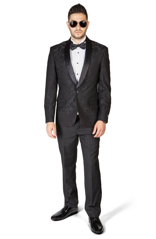 Slim Fit 1 Button Black Shawl Satin Collar Floral Jacket Black Pants