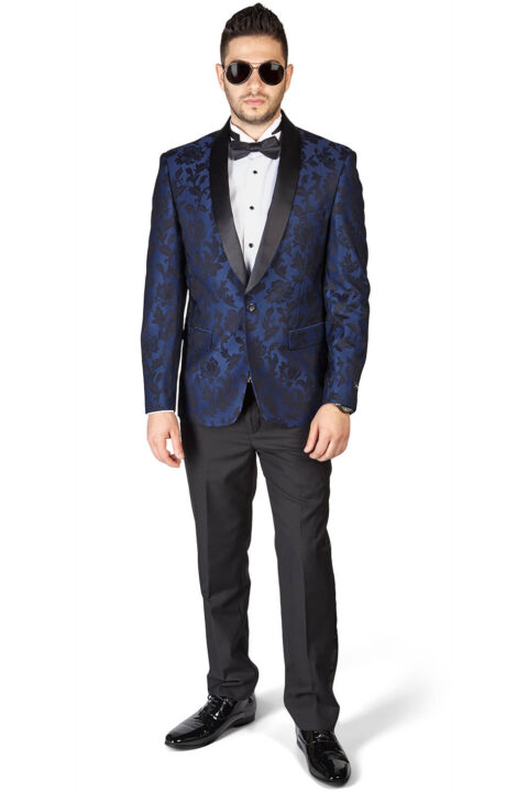 Slim Fit 1 Button Navy Blue Shawl Satin Collar Floral Jacket Black Pants