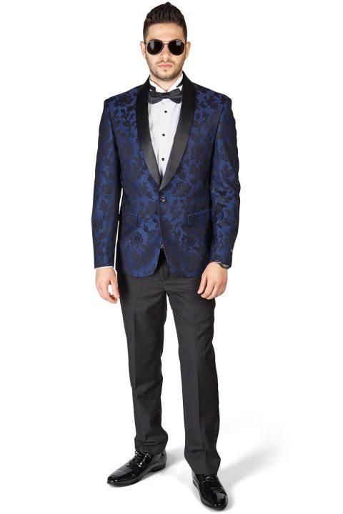 Slim Fit 1 Button Navy Blue Shawl Satin Collar Floral Jacket Black Pants
