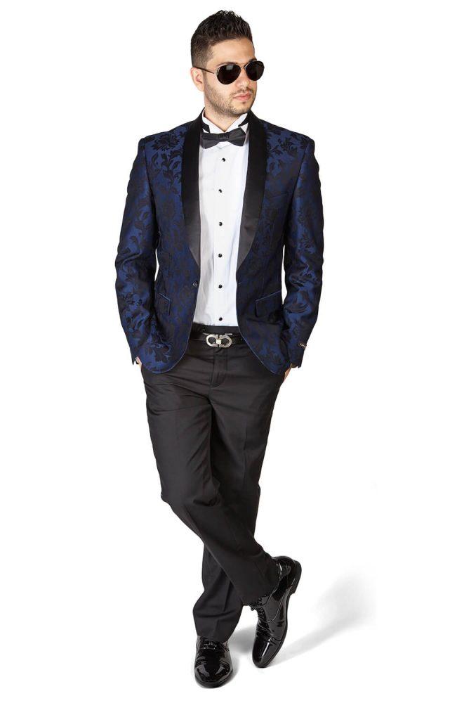 Slim Fit 1 Button Navy Blue Shawl Satin Collar Floral