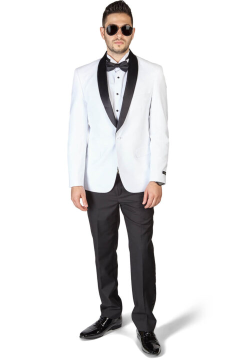 Slim Fit 1 Button Shawl Lapel White Tuxedo With Black Pants