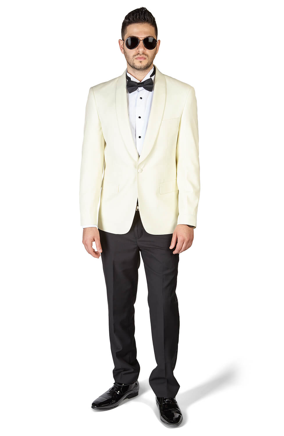 Slim Fit 1 Button Shawl Lapel Ivory Tuxedo With Black Pants