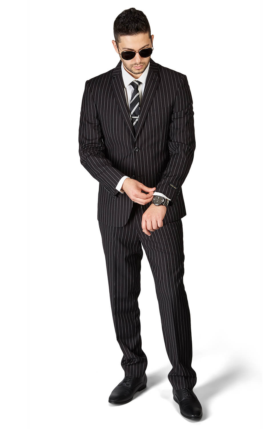 Slim Fit 2 Button Black Notch Lapel PinStripe Suit