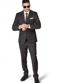 Slim Fit 1 Button Black Peak Lapel Plaid Windowpane Suit