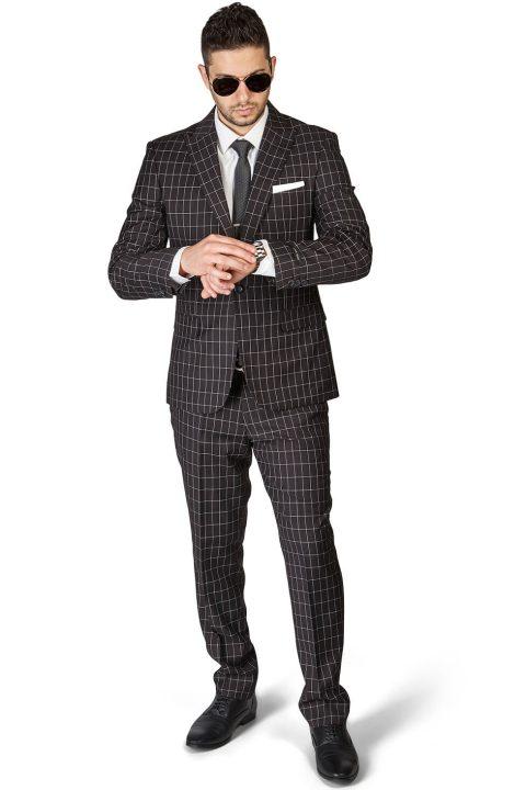 Slim Fit 1 Button Black Peak Lapel Plaid Windowpane Suit