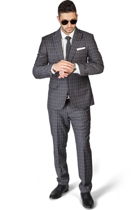 Slim Fit 1 Button Grey Peak Lapel Plaid Windowpane Suit