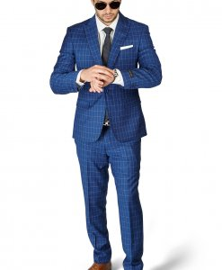 Slim Fit 1 Button Sapphire Blue Peak Lapel Plaid Windowpane Suit