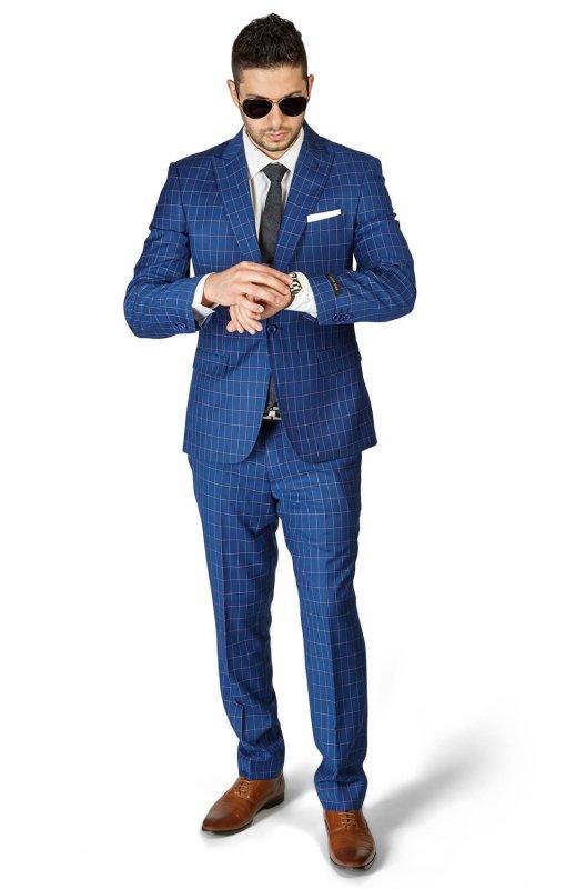 Slim Fit 1 Button Sapphire Blue Peak Lapel Plaid Windowpane Suit