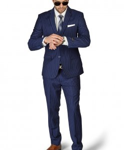 Slim Fit 2 Button Navy Blue Notch Lapel PinStripe Suit