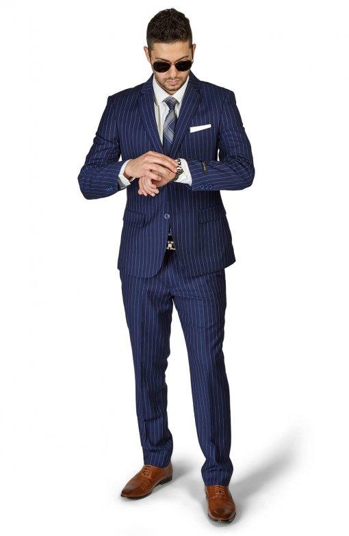 Slim Fit 2 Button Navy Blue Notch Lapel PinStripe Suit