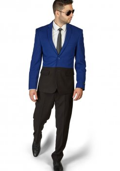 Slim Fit 2 Button Black & Blue Two Tone Notch Lapel Suit