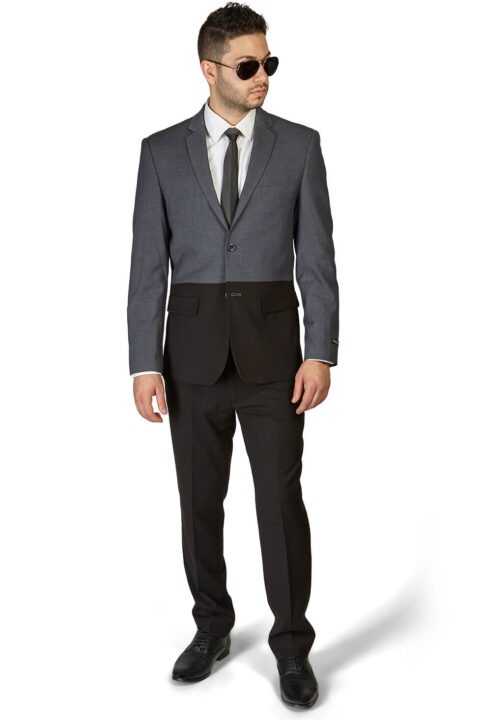 Slim Fit 2 Button Black & Grey Two Tone Notch Lapel Suit