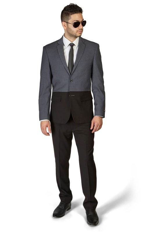 Slim Fit 2 Button Black & Grey Two Tone Notch Lapel Suit