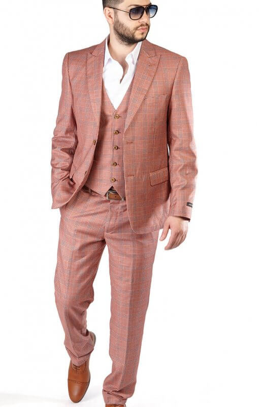 Slim Fit 2 Button Salmon Peak Lapel Windowpane