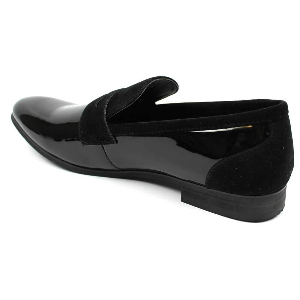 black patent suede details tuxedo slip on bradley shoes