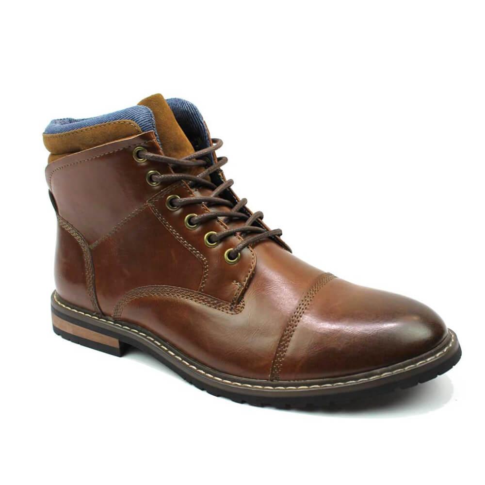 Brown Cap Toe Derby Lace up Ankle Boots - Azar Suits