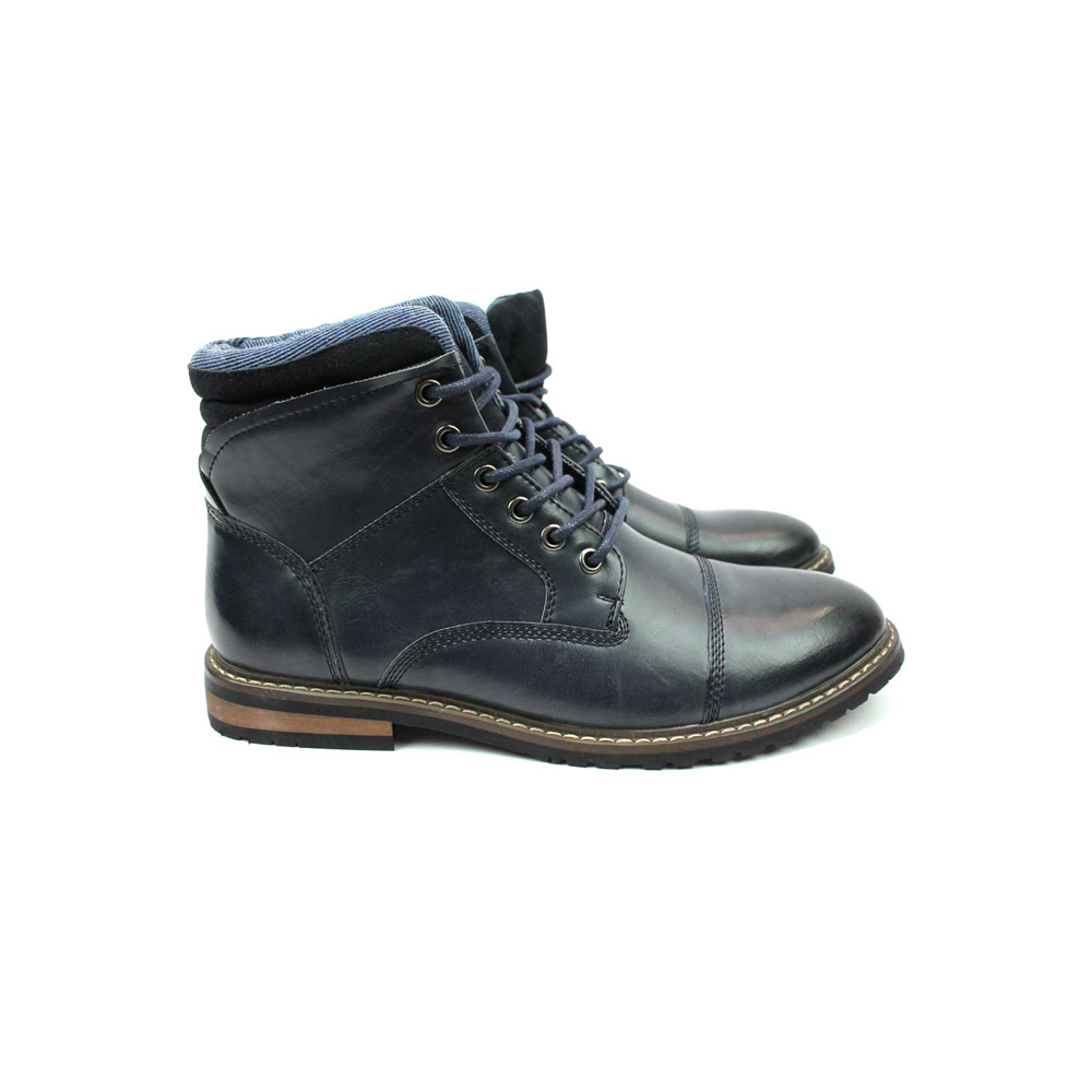 Navy Blue Cap Toe Derby Lace up Ankle