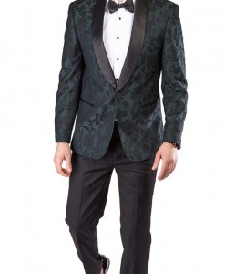 Slim Fit 1 Button Green Shawl Satin Collar Floral Jacket Black Pants