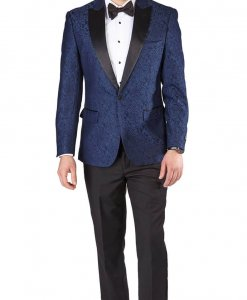 Slim Fit 1 Button Blue Satin Collar Paisley Jacket Black Pants