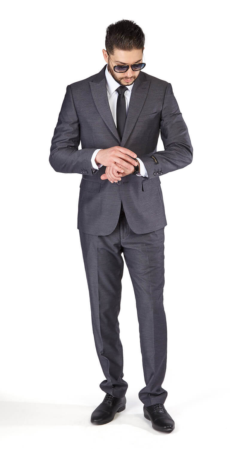 Slim Fit 2 Button Dusty Ash Grey Peak Lapel