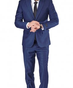 Slim Fit 2 Button Deep Ink Blue Peak Lapel