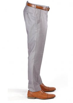 Silver Slim Fit Flat Front Dress Pants