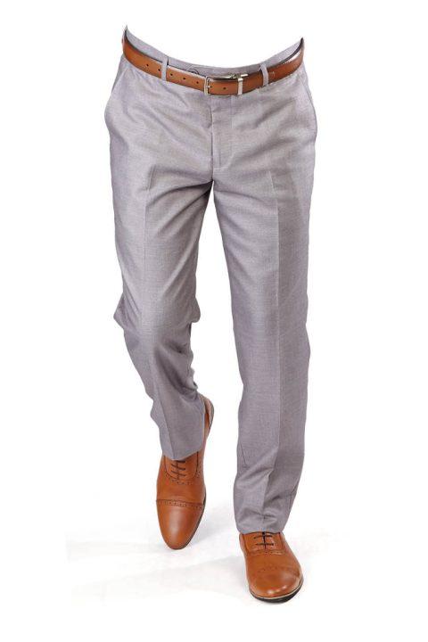 Silver Slim Fit Flat Front Dress Pants
