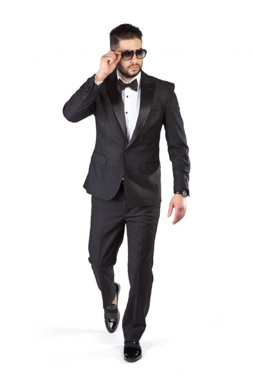 Slim-Fit-1-Button-Black-Paisley-Satin-Collar-Jacket-Black-Pants-1778-4