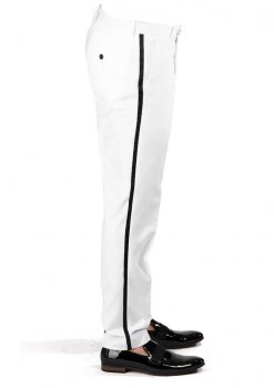 White Tuxedo Slim Fit Dress Pants