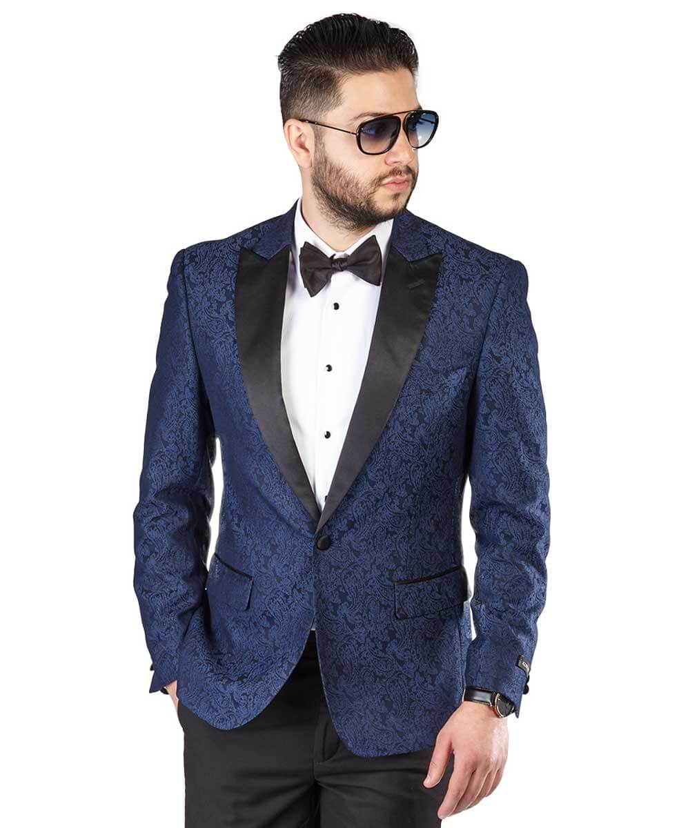 newest collection durable in use fashion Slim Fit 1 Button Navy Blue Paisley Dinner Jacket Peak Satin Lapel