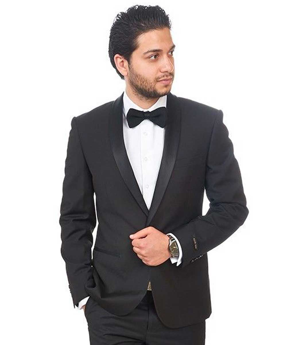 9677471dedc Slim Fit 1 Button Black Shawl Lapel Tuxedo Dinner Jacket - Azar Suits