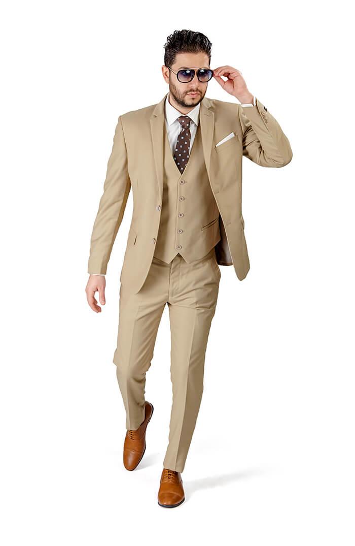 Slim Fit 2 Button Beige Notch Lapel Suit Vest Optional